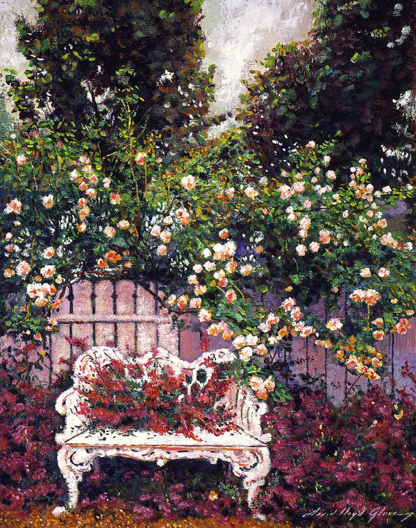 Gardens Art Print featuring the painting Sumptous Cascading Roses by David Lloyd Glover