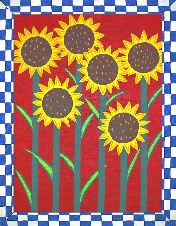 Folk Art Print featuring the painting Sunflowers by Bev Colando