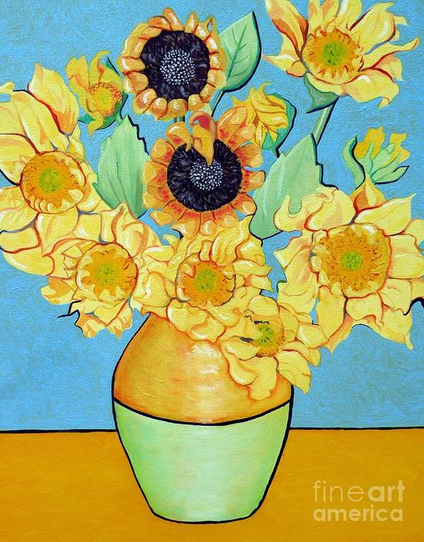 Sunflower Print featuring the painting Sunflowers Tribute To Vincent Van Gogh II by Christine Belt