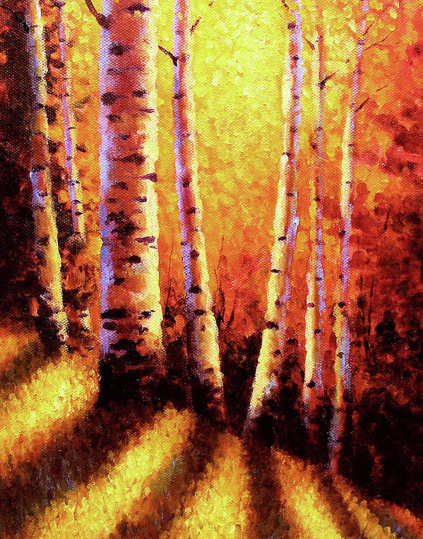 Sunlight Art Print featuring the painting Sunlight Through The Aspens by David G Paul