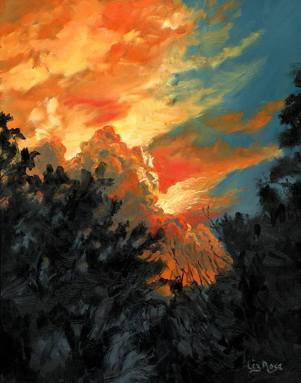 Landscape Art Print featuring the painting Sunset Over The Little Wekiva by Liz Rose