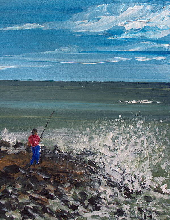 Seascape Art Print featuring the painting Surf Fishin by Pete Maier
