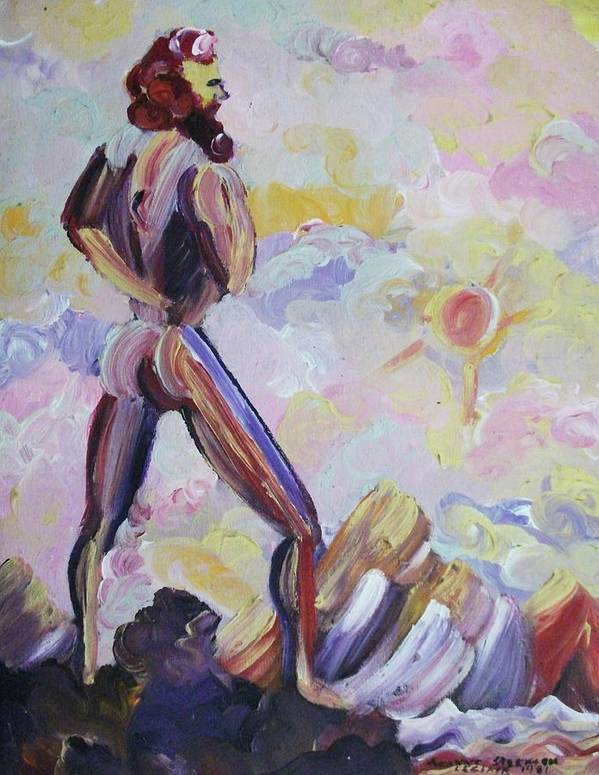 Man Art Print featuring the painting Surveying Creation by Suzanne Marie Leclair