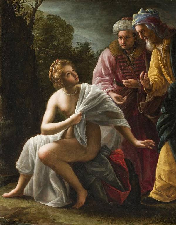 Susanna Print featuring the painting Susanna And The Elders by Ottavio Mario Leoni