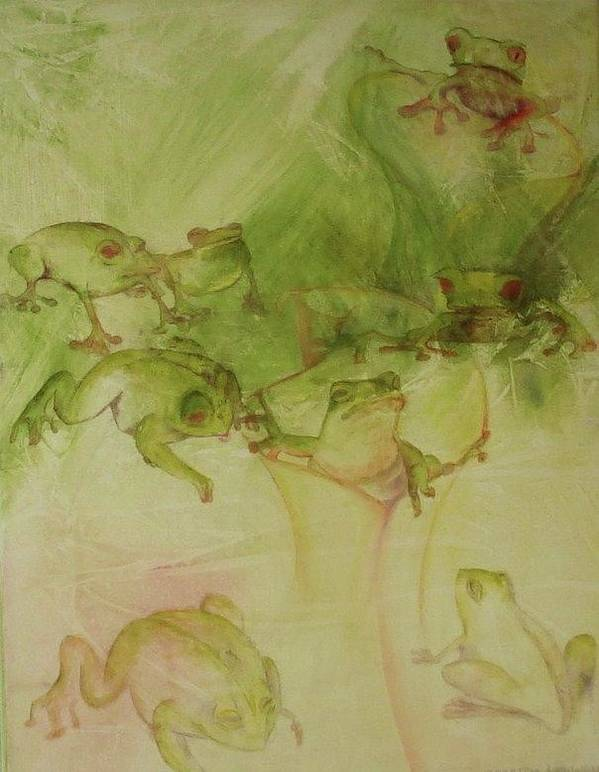 Delightful Whimsical Acrylic Painting Of Many Frogs Playing About In An Abstracted Landscape. Of Appeal To The Conservationist And Persons Concerned About The Fact That Frogs Are Dying About The World. Hues Of Reds Yellows And Greens Art Print featuring the painting Tamalpais Spring by Georgia Annwell
