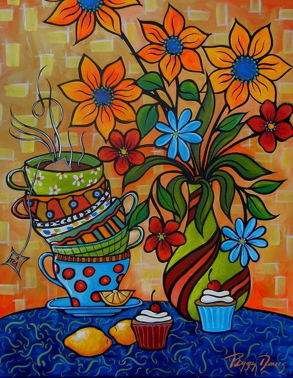 Tea Painting Art Print featuring the painting Tea And Cakes by Peggy Davis