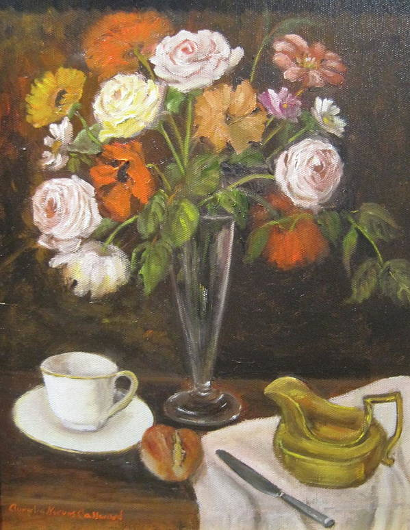 Teacup And Saucer Art Print featuring the painting Teacup And Flowers by Aurelia Nieves-Callwood