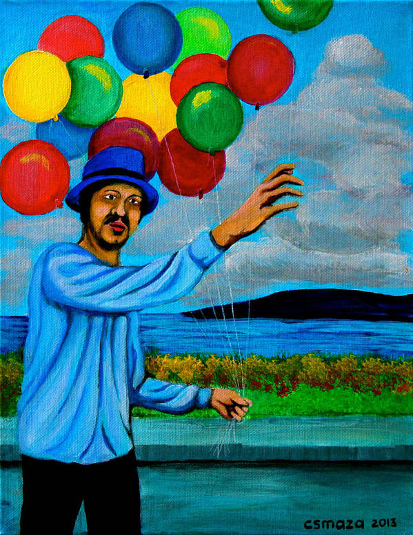 Balloon Art Print featuring the painting The Balloon Vendor by Cyril Maza
