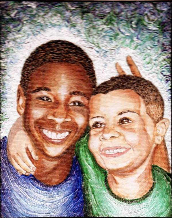 Boys Art Print featuring the painting The Boys by Keenya Woods