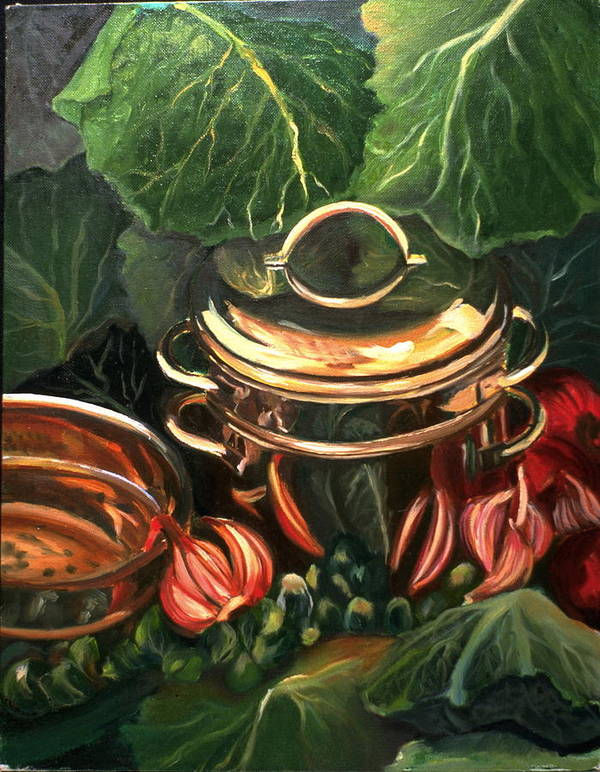 Still Life Art Print featuring the painting The Cabbage Pot by Patricia Reed
