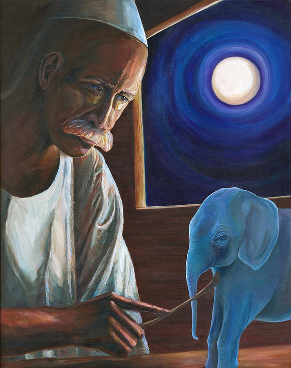 Mystical Portriat Art Print featuring the painting The Carver by Kathleen Boyle Magnuson