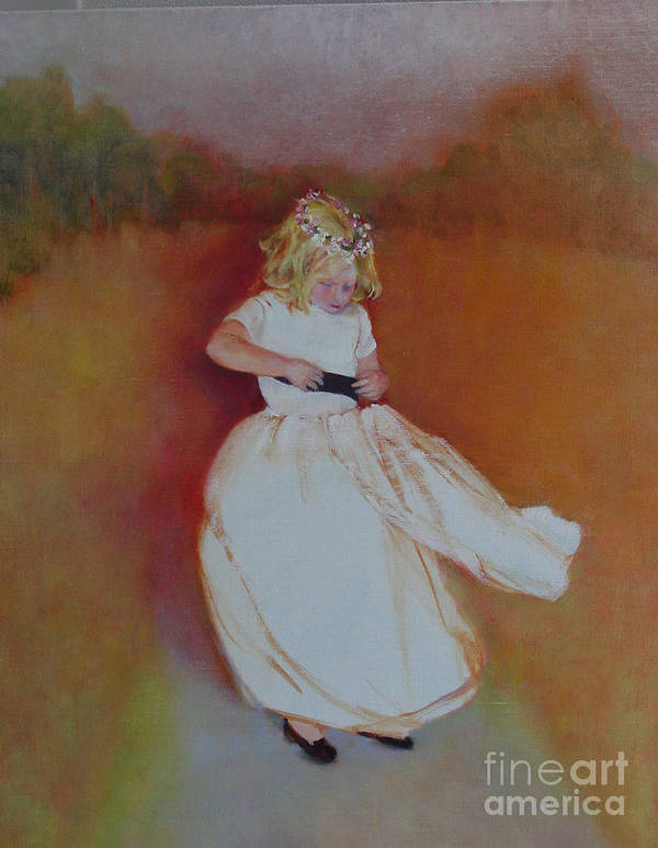 Contemporary Portrait Art Print featuring the painting The Flower Girl Copyrighted by Kathleen Hoekstra