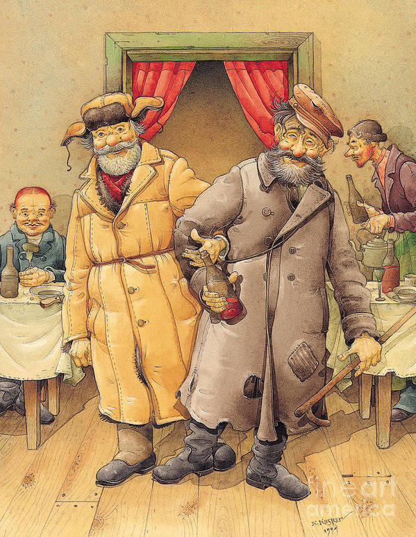 Russian Vodka Figures Pub Art Print featuring the painting The Honest Thief 01 Illustration For Book By Dostoevsky by Kestutis Kasparavicius