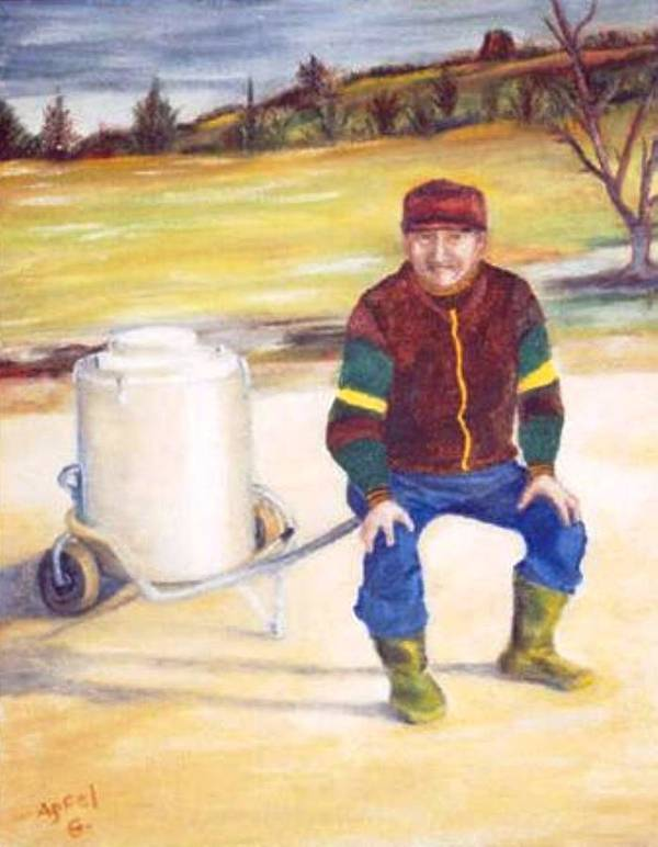 Milkman Art Print featuring the painting The Milkman by Gloria M Apfel