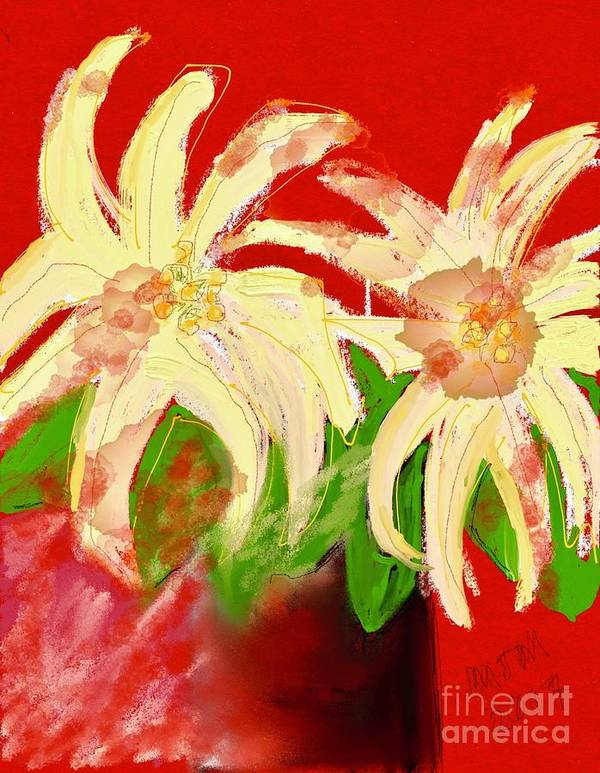 #pointsettia #still Life #shabby Chic #holiday Floral Art Print featuring the digital art The Other Christmas by Mary Jane Mulholland