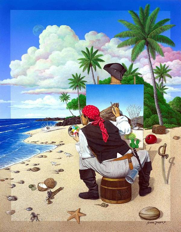 Pirate Art Print featuring the painting The Painting Pirate by Snake Jagger