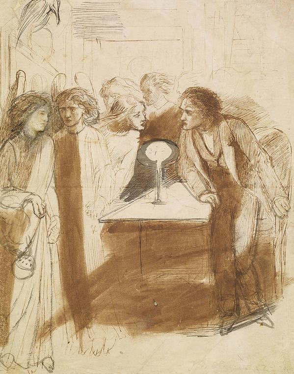 Dante Gabriel Rossetti Art Print featuring the drawing The Raven - Angel Footfalls by Dante Gabriel Rossetti