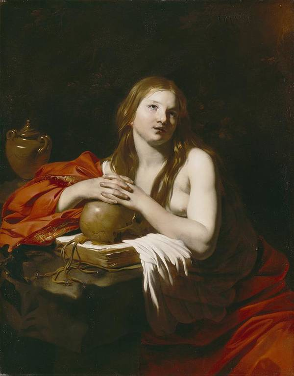 The Art Print featuring the painting The Repentant Magdalene by Nicolas Regnier