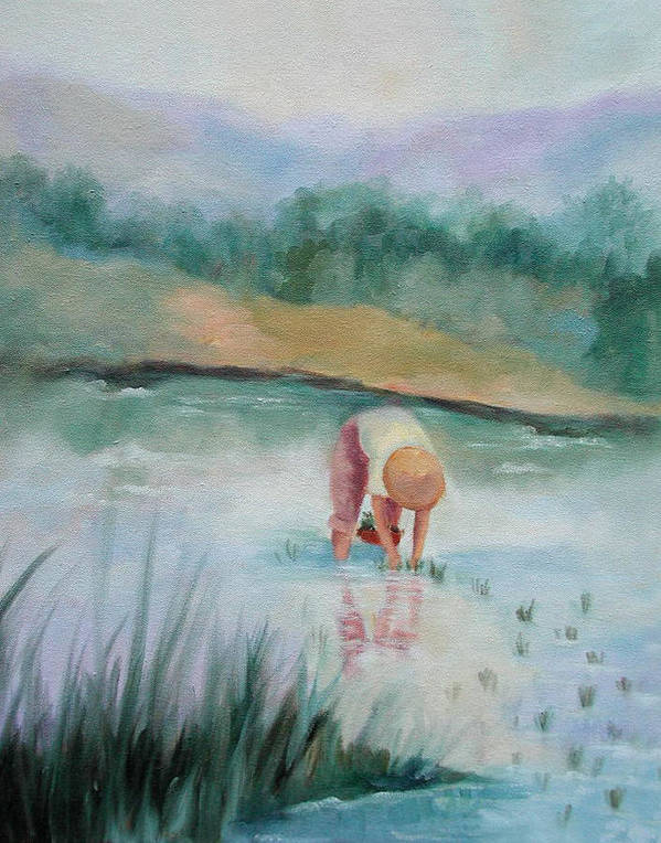 Figurative Art Print featuring the painting The Rice Planter by Ginger Concepcion