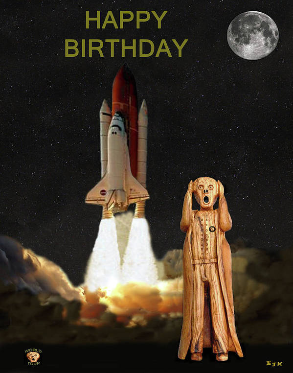 The Scream World Tour Space Shuttle Art Print featuring the mixed media The Scream World Tour Space Shuttle Happy Birthday by Eric Kempson