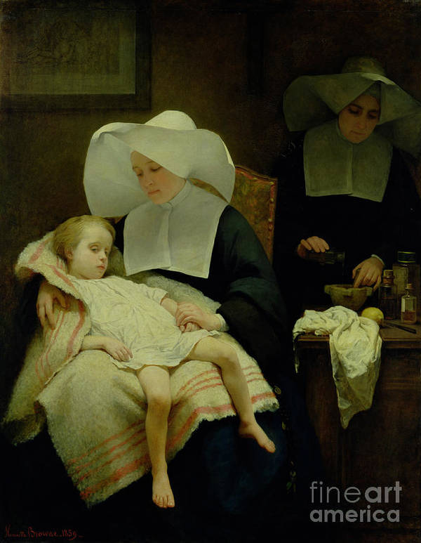 Sisters Art Print featuring the painting The Sisters Of Mercy by Henriette Browne