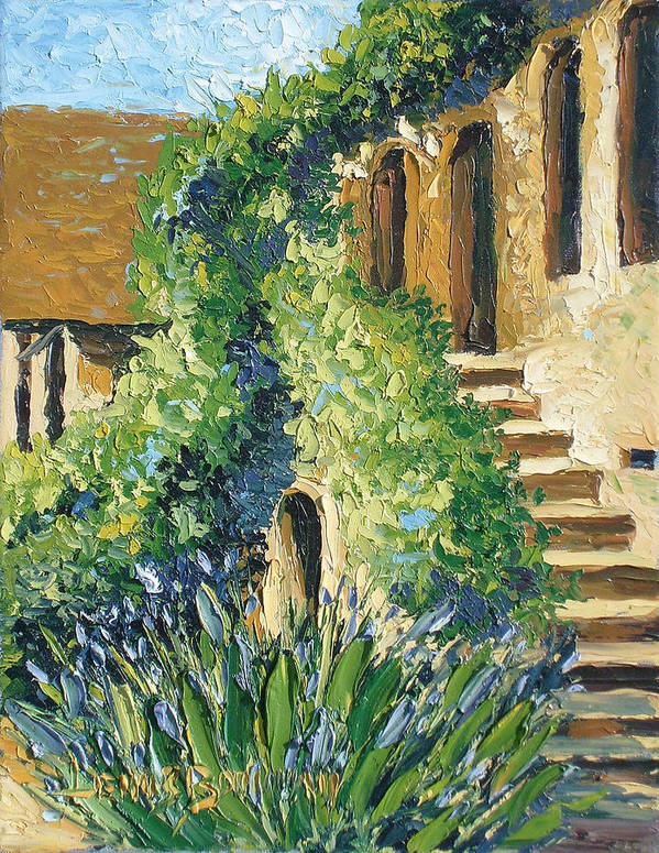 City Scapes Art Print featuring the painting The Stairs by Lewis Bowman