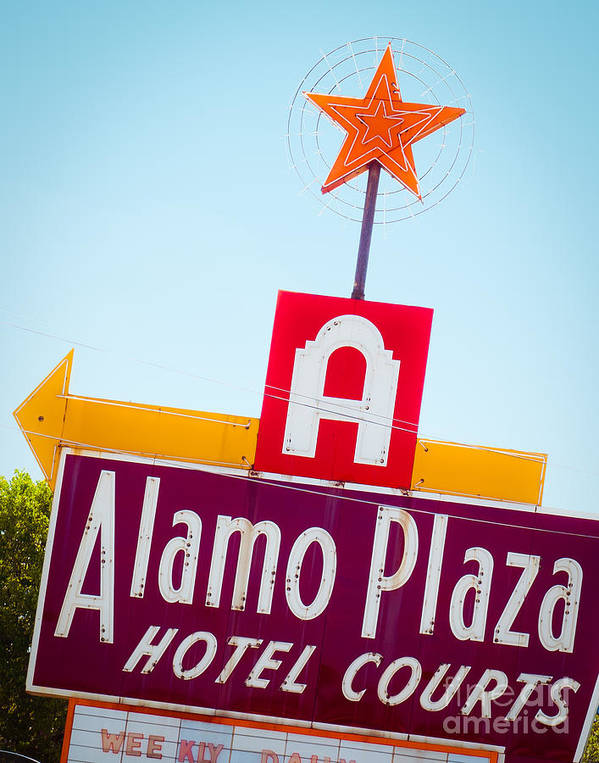 Neon Sign Art Print featuring the photograph The Star Of Alamo Plaza by Sonja Quintero