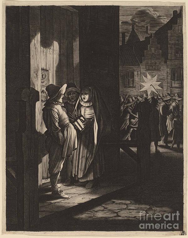 Art Print featuring the drawing The Star Of Kings, A Night Piece by Jan Van De Velde Ii After Pieter Molijn