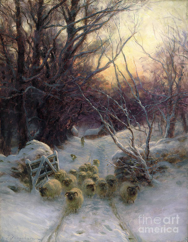 Winter Print featuring the painting The Sun Had Closed The Winter Day by Joseph Farquharson