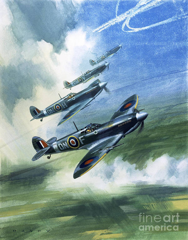 The Art Print featuring the painting The Supermarine Spitfire Mark Ix by Wilfred Hardy