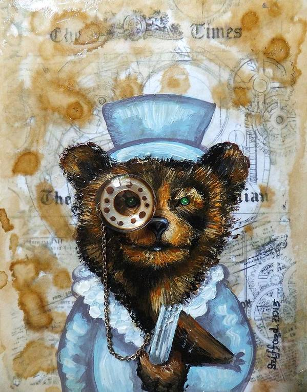 Brown Bear In Blue Suit Jacket Coat Book The Times Newspaper Jewel Monocle Chain Goggles Cogs Gears Steampunk Victorian Era Clocks Watches Halo Key Time Coffee Stains Aged Page Hand Writing Antique Vintage Original Painting Abstract Art Whimsical Funny Cute Adorable Smiling Smile Happy Friendly Sweet Heart Coin England Great Britain Studs Top Hat Olie Cannoli Griffard Anna Original Painting Abstract Art Paintings Keys Heart Art Print featuring the painting The Times Bear by Anna Griffard