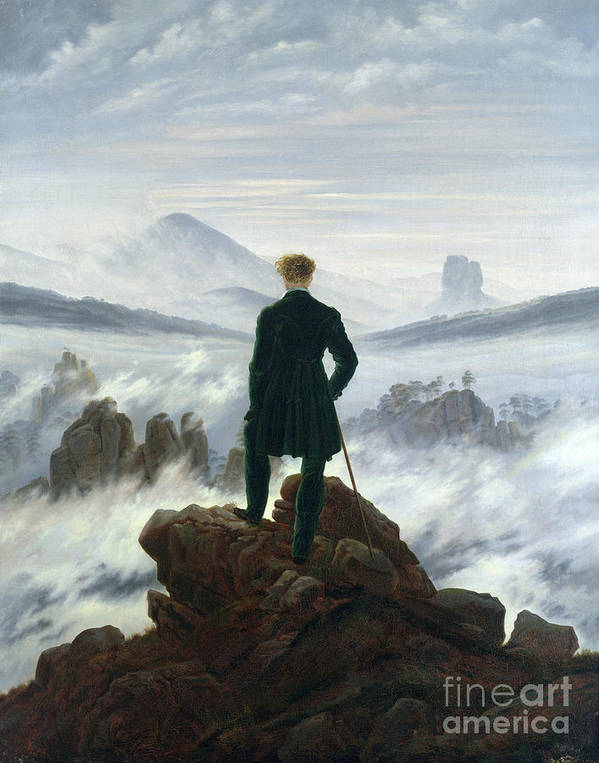 Caspar David Friedrich (1774 - 1840) Art Print featuring the painting The Wanderer Above The Sea Of Fog by MotionAge Designs