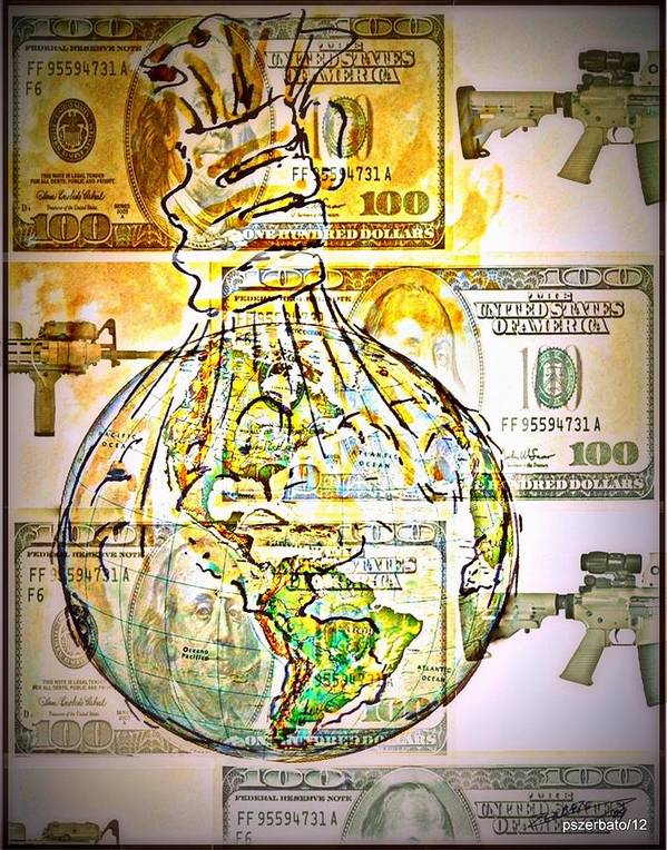 The World Is Money Art Print featuring the digital art The World Is Money by Paulo Zerbato