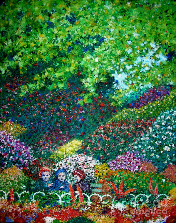Spring Park Art Print featuring the painting Three Old Ladies In The Park by Andy Mercer