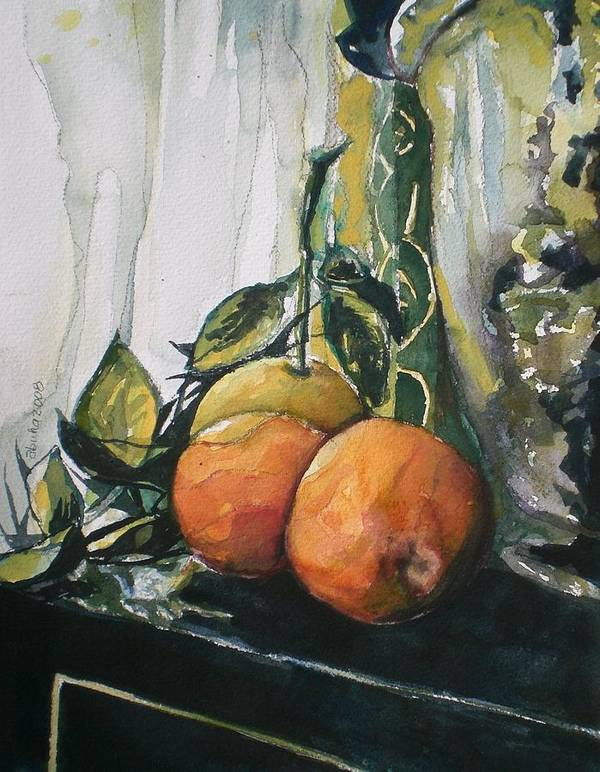 Ornages Art Print featuring the painting Three Oranges On Black by Aleksandra Buha