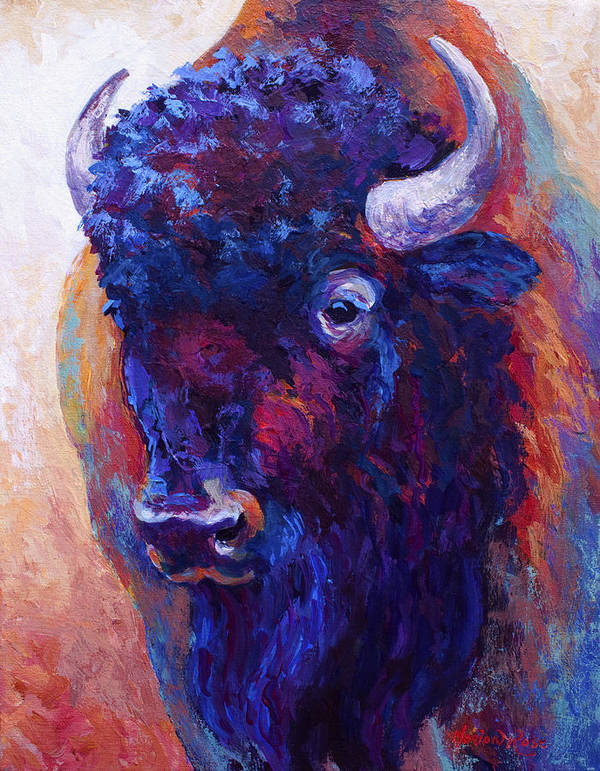 Bison Print featuring the painting Thunder Horse by Marion Rose
