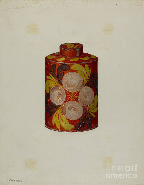 Art Print featuring the drawing Toleware Tea Caddy by Mildred Ford