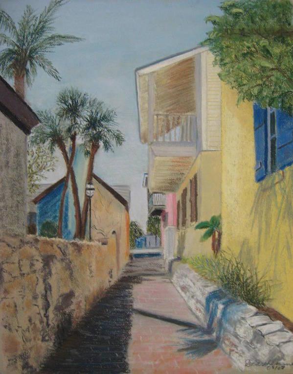 Florida Art Print featuring the pastel Treasury Street St Augustine by Diane Larcheveque
