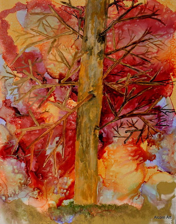 Tree Art Print featuring the painting Tree At Sunset by Brenda Alcorn