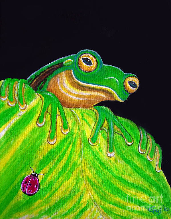 Tree Frog Art Print featuring the painting Tree Frog On A Leaf With Lady Bug by Nick Gustafson