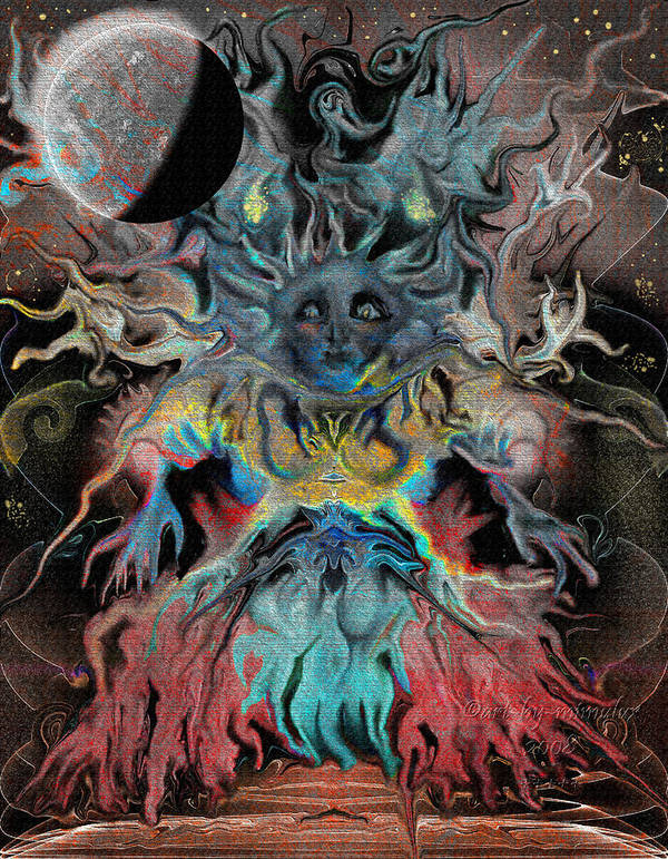 Tree Art Print featuring the digital art Treewoman Awakens by Mimulux patricia No