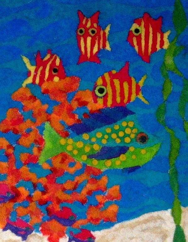 Tropical Art Print featuring the digital art Tropical Fish by Jeanette Lindblad