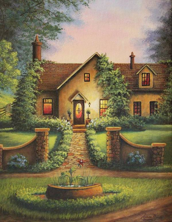 House Art Print featuring the painting Tuscan Home by Diana Miller