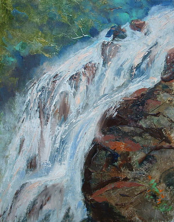 Waterfalls Art Print featuring the painting Twin Falls Cascade by Bryan Alexander