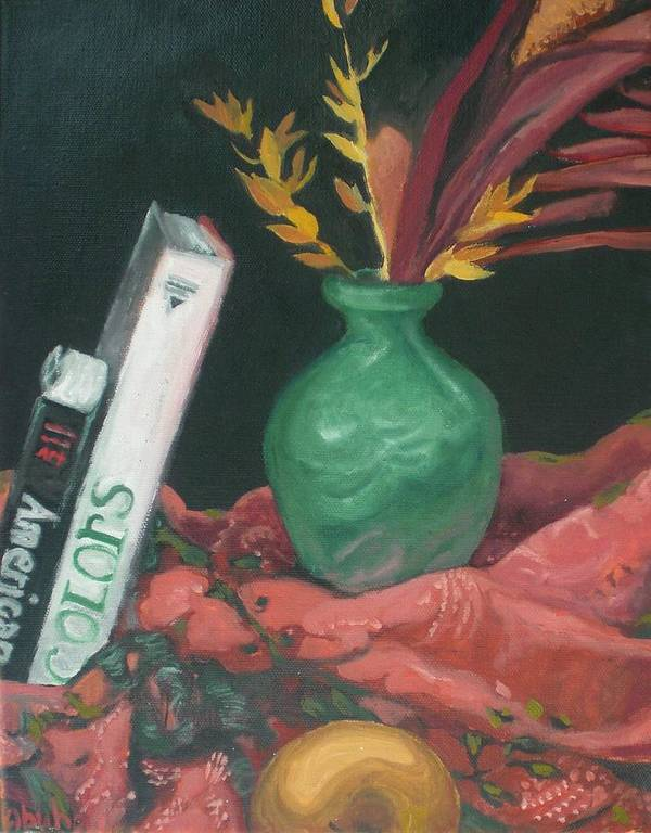Still Life Art Print featuring the painting Two Books With Green Vase by Aleksandra Buha