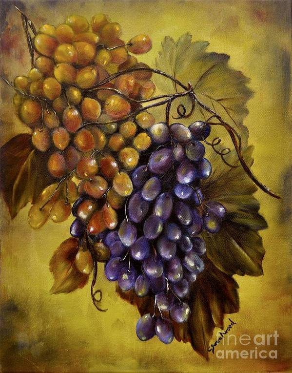 Grapes Art Print featuring the painting Two Choices by Carol Sweetwood