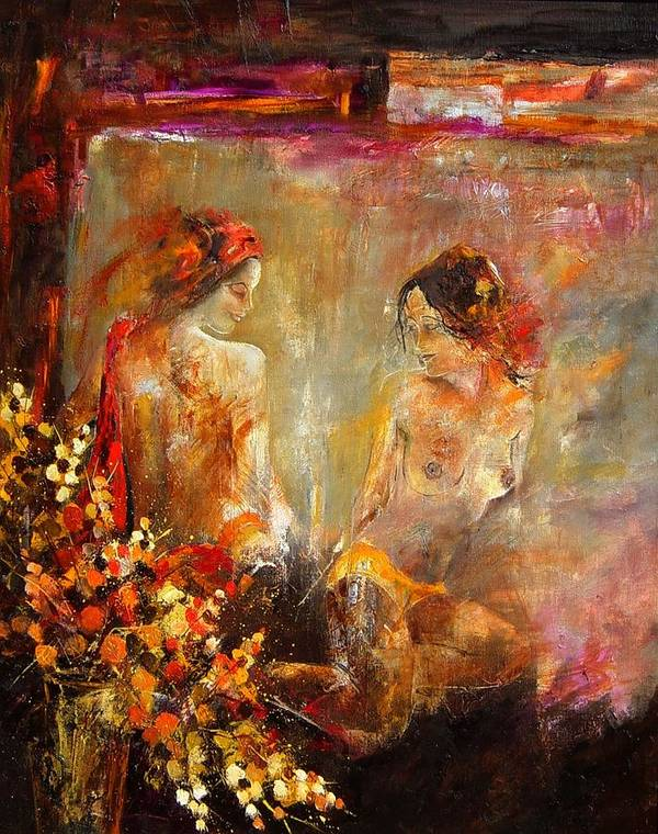 Girl Nude Art Print featuring the painting Two Nudes by Pol Ledent