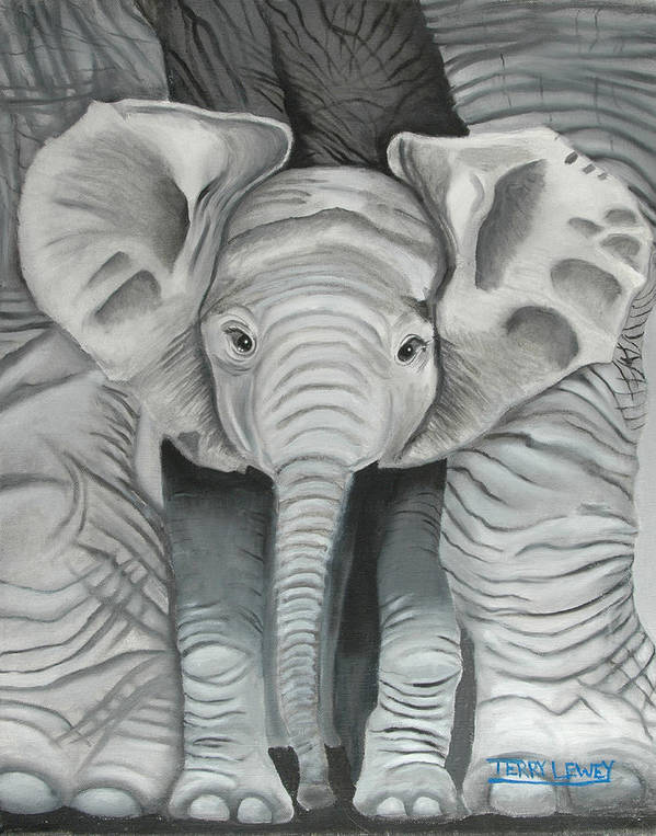 Elephant Art Print featuring the painting Under Mom by Terry Lewey