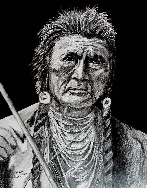 Original Portrait Art Print featuring the drawing Unknown Indian by Stan Hamilton