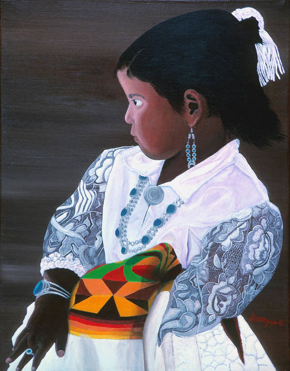Navajo Art Print featuring the painting Waiting To Dance by JoeRay Kelley